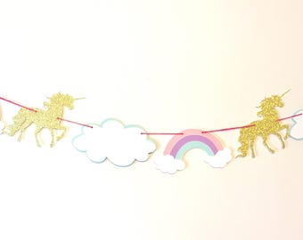 Unicorn and rainbow garland, pastel unicorn garland, gold glitter first birthday decorations, gold unicorn