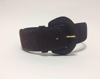 Vintage 80s 90s Brown Suede Leather Waist Belt Size Medium M
