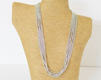 Long silver necklace gray necklace wedding necklace boho necklace, seed bead necklace, bridesmaids gifts,multi strand necklace, classic boho