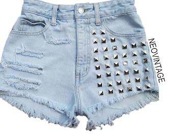 Silver Pyramid Studded Distressed Light Denim High Waisted Shorts