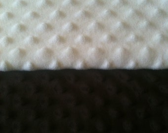 Minky Blanket- Cream and Dark Brown  35 x 30