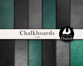 Chalkboard digital papers Black, gray and green chalkboard Blackboard Chalkboard backgrounds Chalkboard texture Schoolboard Instant download