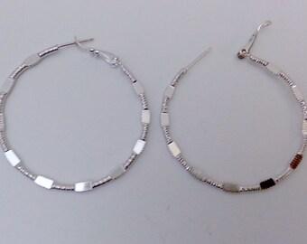 Hoops Earrings, 14k white Gold filled Earrings Jewelry Pair
