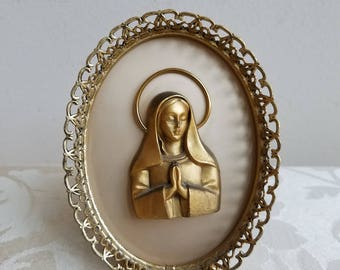 Vintage Praying Madonna In Gold Filigree Metal Frame, Blessed Mother Virgin Mary, Framed Religious Art Sculpture Figure For Wall or Tabletop