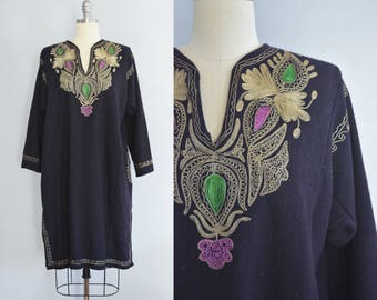 1970s Embroidered Wool Caftan Dress | Vintage | Made in India