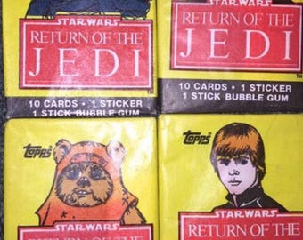 1983 Star Wars Return of the Jedi sealed unopened Trading Cards - 4 packs - one of each pack style