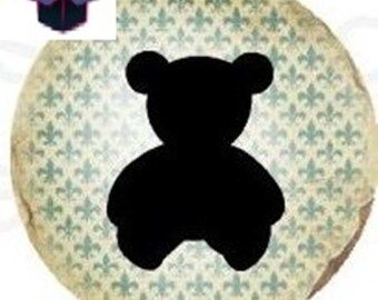 1 cabochon clear 18 mm girl and teddy bear theme