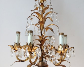 Tole chandelier etsy gilt tole floral chandelier mozeypictures Image collections