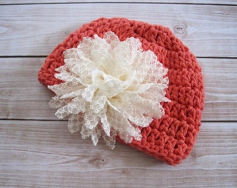 Baby Girl Hat, Baby Girl Clothes, Girl Photo Prop, Baby Coming Home Hat, Newborn Baby Girl Hat, Girl Infant Hat, Orange, Baby Flower Hat