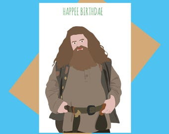 Birthday card - Harry Potter card - Hagrid - Happee Birthdae