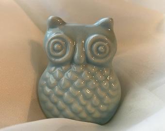 Denim Light Blue Ceramic Owl Knobs Decorative Drawer Knob, Instant Furniture Upgrade Ceramic Drawer Pulls, Cabinet Supplies, Item #476229254
