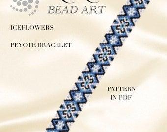 Peyote Pattern for bracelet Iceflowers peyote bracelet cuff pattern in PDF - instant download