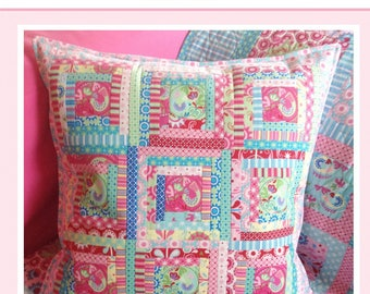 Chirpy Lola Log Cabin Quilted Pillow Pattern