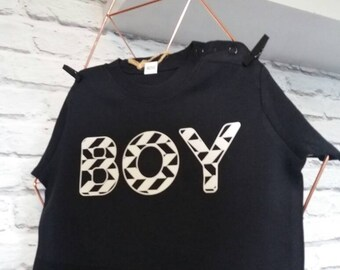 Bold geometric BOY tee shirt