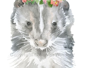 Baby Skunk Floral Watercolor Painting 8 x 10 - 8.5x11 - Fine Art Giclee Reproduction - Woodland Animal Springtime Art Print Flower