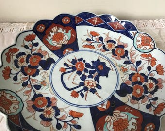 Antique Japanese Porcelain Charger -  1880s Japanese Charger Plate made in the Meiji Era