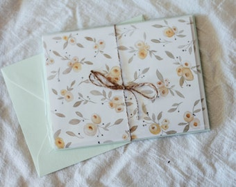 Peach Floral greeting cards- Set of 4