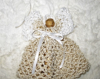Crocheted ANGEL Christmas Tree Ornament GOLD and White 3