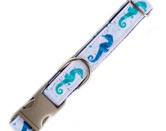 "Watercolor Seahorses Dog Collar (Please Leave Size ""inches"" in Comments Section)"