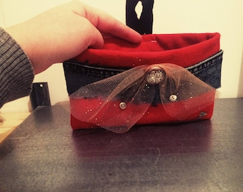 Red felt and denim pouch