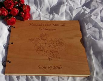 Photo Album Wood Engraved /Custom Wedding Guest Book Wood /Wood Cover Gift Album /Rose Design Photo Album /Wood Wedding Gift Album