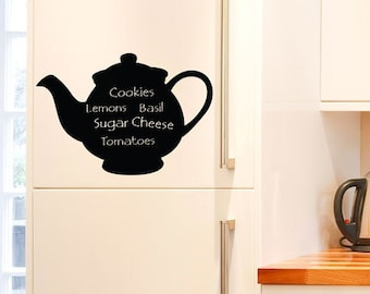 Reusable Chalkboard Teapot Wall/Fridge Decal