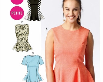 Peplum Top Pattern, Easy Pullover Top Pattern, McCall's Sewing Pattern 6896