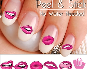 Lips and Kisses Smooches Nail Art Decal Sticker Set