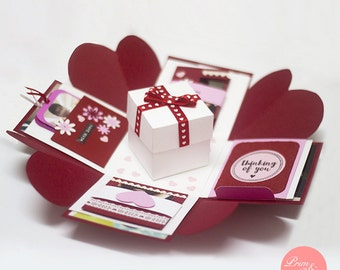 Love Explosion Box // Love Exploding Box // Surprise exploding box card // Wedding gift explosion box // Anniversary gift explosion box