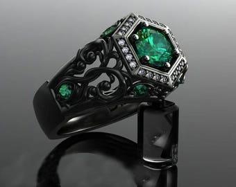 Emerald Ring handmade Silver .925