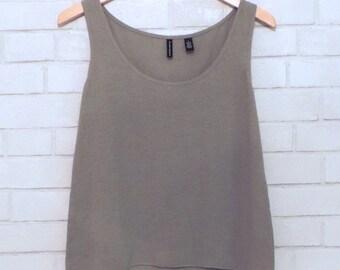 Boho Sheer Linen Gray-Green Flowy Tank Top