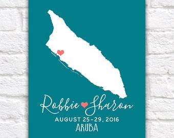 Aruba Honeymoon, Wedding, Destination Map -  Custom Map Gift, Engagement, Anniversary, Gift for Husband, Tropical, Island, Caribbean   WF277