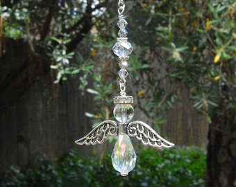 Guardian Angel, Quartz Crystal Rearview Mirror Car Charm, Ornament, Hanging Angel Window Decoration, Memorial