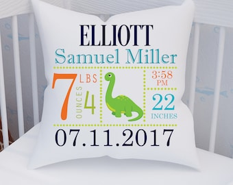Dinosaur Birth announcement pillow / Dino / Keepsake Pillow / Baby Pillow / Personalized pillow / Personalized Baby Pillow / 14x14 / 16x16