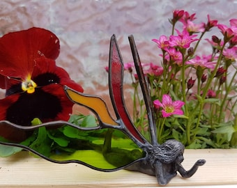 Stained glass fairy statue or figurine made in colored glass with tin body in beautiful colors to make a unique gift or home decor