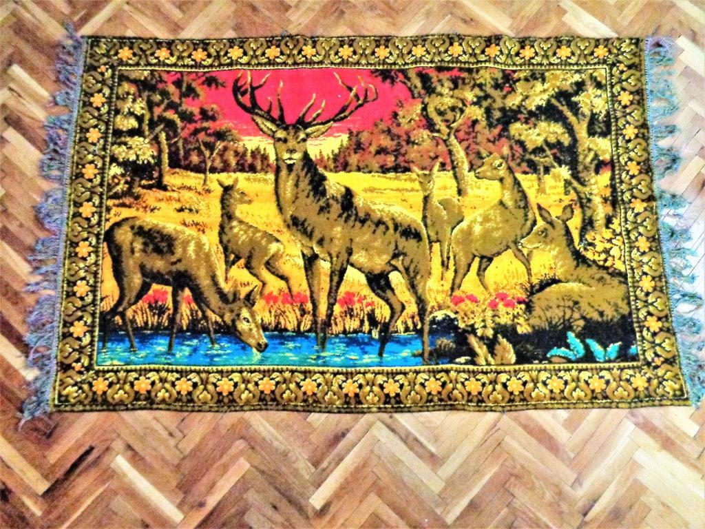 Vintage deer tapestry Italian Velvet Wall Hanging Deers