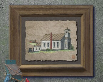 Nostalgic cute wood rural church art Whimsical yesteryear print adds Americana art family memories to as 8x10 or 13x19 rural wall decor