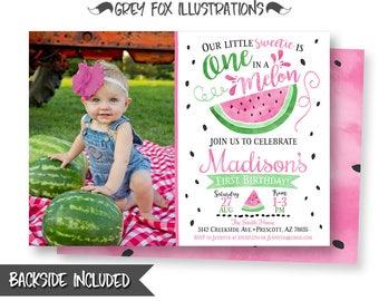 Watermelon Picture Invitation, Watermelon Birthday Invitation, Watermelon Party, One in a Melon Invitation, 1st Birthday, Digital, Printable