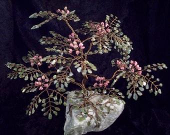 Jade and Rhodonite Mimosa Gem Tree