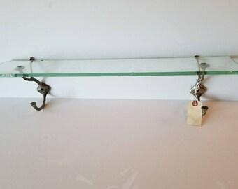 Vintage Glass Bathroom Shelf with Hooks