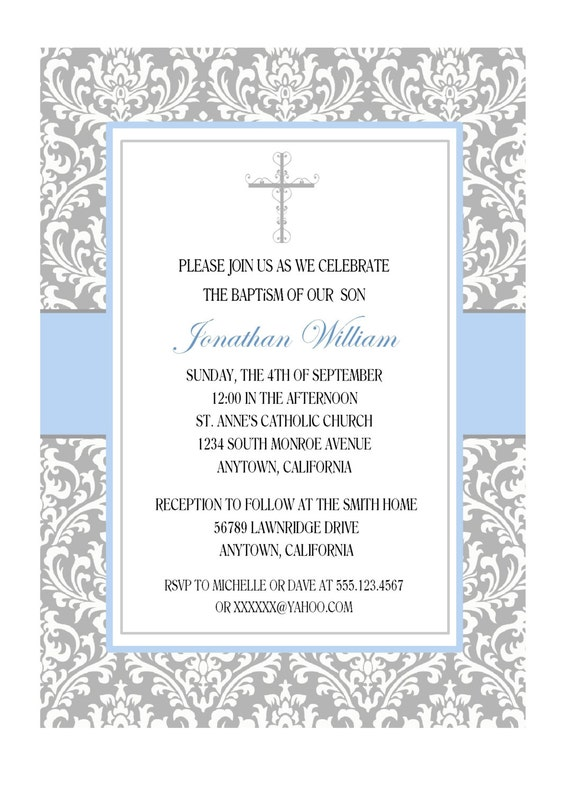 elegant baptism invitation for boy personalized gray and