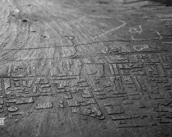 Engraved stone map art Photo / Poster / Canvas Black and White