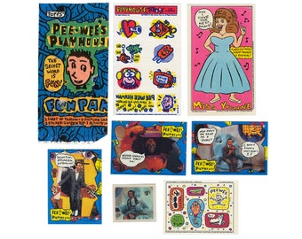 Vintage 80's PEE-WEE'S PLAYHOUSE Trading Card Fun Pack ~ Topps Pee Wee Herman Stickers Tattoos