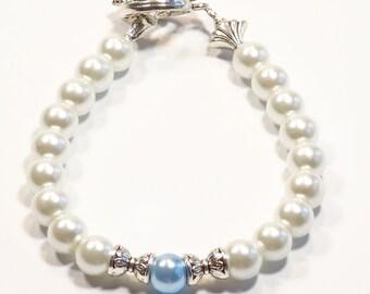 WHITE & PALE BLUE Women's stackable bracelet, stacking bracelet, statement bracelet, beaded bracelet