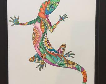 Zentangle lizard, colored lizard, lizard art, colored zentangle, colorful lizard, zentangle, ink colored pencils, wall art, wall decor