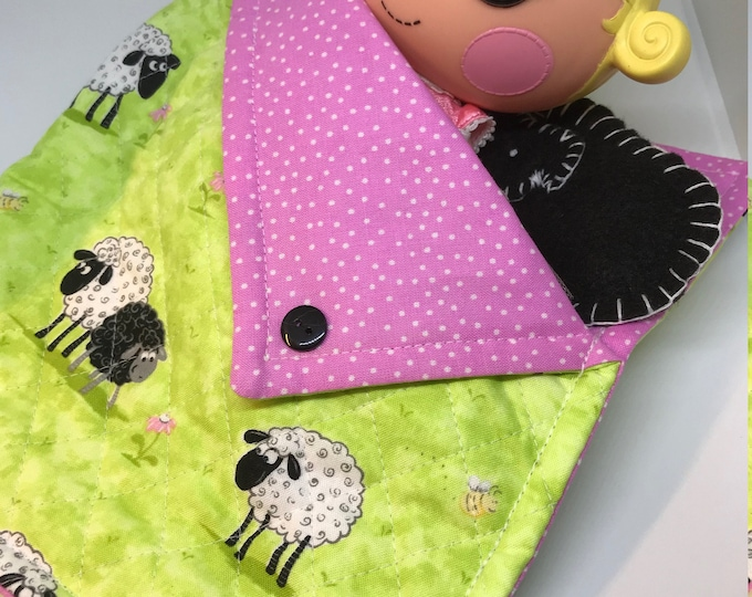 Sleeping Bag and Pillow Set for Lalaloopsy Littles Doll // Camping set // Sleepover // Pajama Party // Doll Bed // Sheep