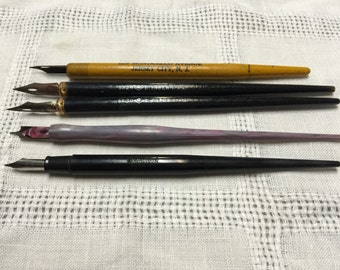 Turn of the Century Vintage Dip Pens with Nibs - Calligraphy