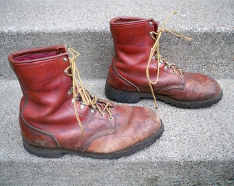 Vintage Red Wing Irish Setter Soft Toe Men's Leather Hunting Work Moc Toe Boots Made in USA Size 12 Extra Wide
