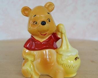 Vintage 1970s Winnie the Pooh Ceramic Figurine by Disney Made in Japan