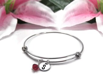Stamped Initial Birthstone Bracelet - Silver Personalized Name Bangle - Minimalist Initial Bracelet - Adjustable Initial Birthstone Bangle